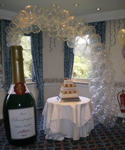 Partystyle wedding balloons wedding decorations weddings cornwall champagne bottle balloon arch junglespirit Images